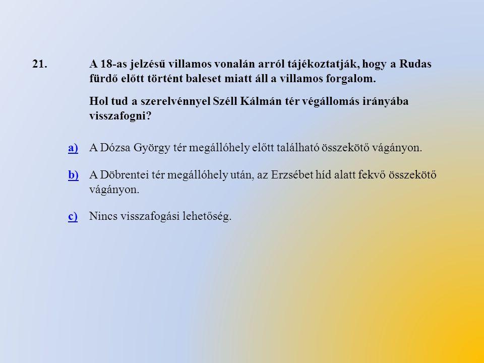 21.A 18-as jelzésű villamos vonalán arról tájékoztatják, hogy a Rudas fürdő előtt történt baleset miatt áll a villamos forgalom. Hol tud a szerelvénny