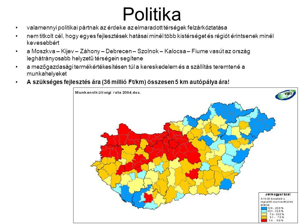 Politika •valamennyi politikai pártnak az érdeke az elmaradott térségek felzárkóztatása •nem titkolt cél, hogy egyes fejlesztések hatásai minél több k