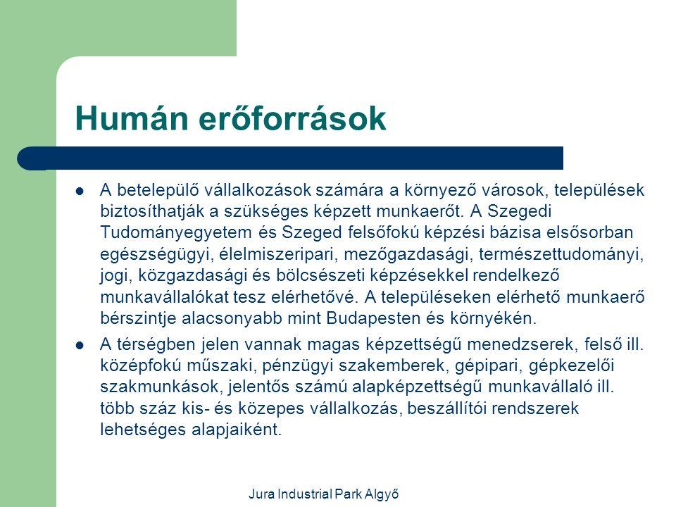 Jura Industrial Park Algyő Az Ipari Park szolgáltatásai  Közműrendszerek működtetése, közműellátás biztosítása.