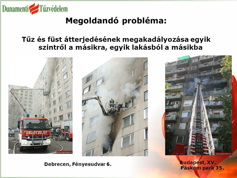 Megoldandó probléma: Tűz és füst átterjedésének megakadályozása egyik szintről a másikra, egyik lakásból a másikba Debrecen, Fényesudvar 6. Budapest,