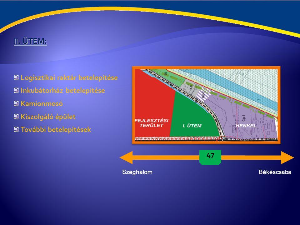 Beruházói költségek: Szabad terület: 1,2ha Költség nemKöltség €-ban Csarnok bérlet 3€/m² (műszaki paraméterektől függően magasabb is lehet) Villamosság 250KW csatlakozási érték esetén~0,12€/kw+ÁFA (20KV vételezve, saját transzformátor esetén) Fűtés (gáz)~900€/hó Szennyvíz 0€ Távközlési költségek~65€ (telefon: 10-15€/hó, korlátlan internet: 50-60€/hó) Örzés-védés~600€/hó Helyi adó 1,6% (nettó forgalom után) Költség nemKöltség €-ban Adók, díjakÁFA: 20%, 33,5% (alkalmazott utáni járulék) és 7,5% (eü.