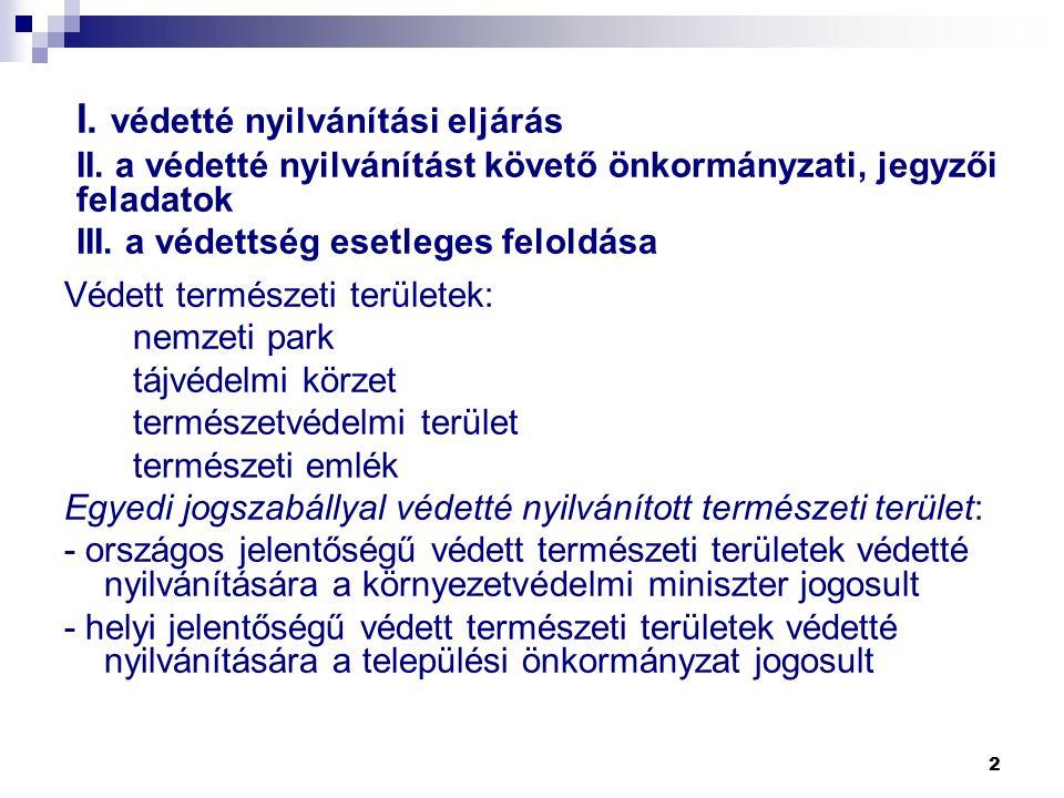 I. védetté nyilvánítási eljárás II. a védetté nyilvánítást követő önkormányzati, jegyzői feladatok III. a védettség esetleges feloldása Védett termész