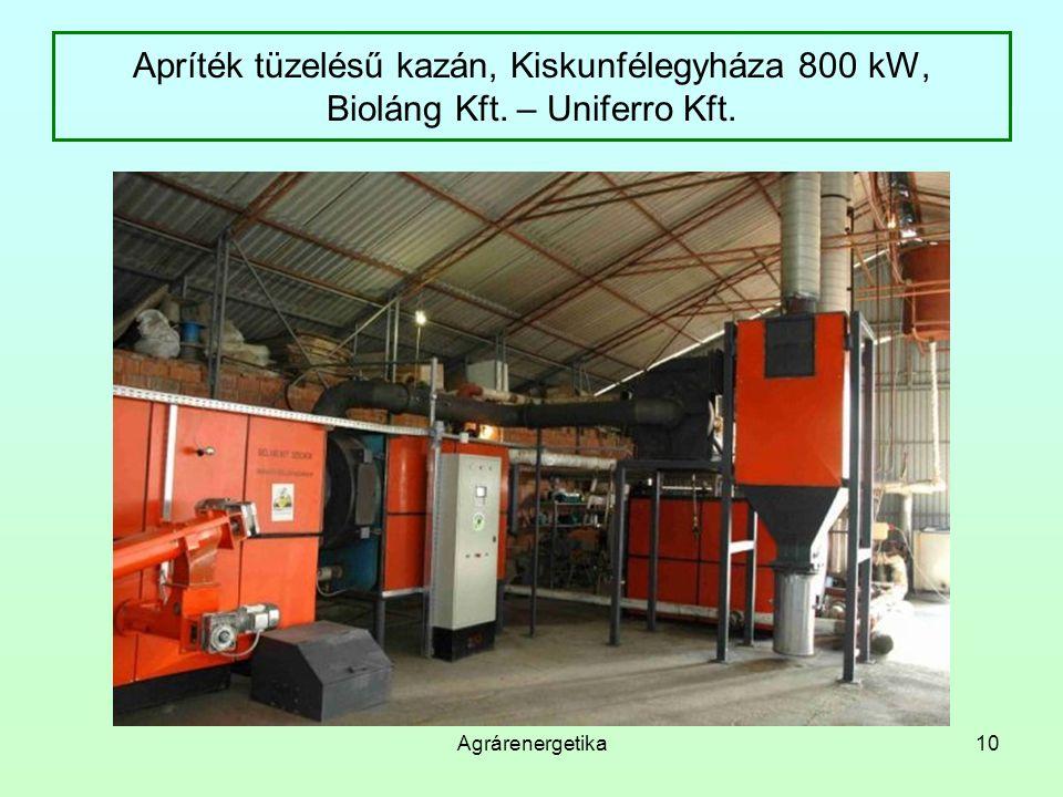 Agrárenergetika10 Apríték tüzelésű kazán, Kiskunfélegyháza 800 kW, Bioláng Kft. – Uniferro Kft.