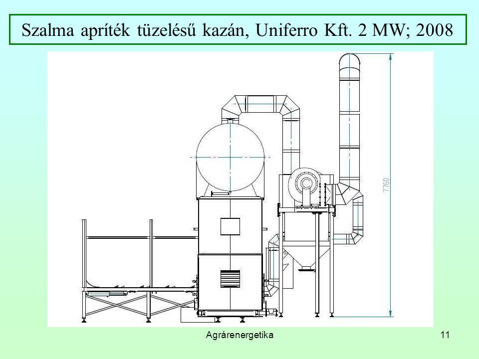 Agrárenergetika11 Szalma apríték tüzelésű kazán, Uniferro Kft. 2 MW; 2008
