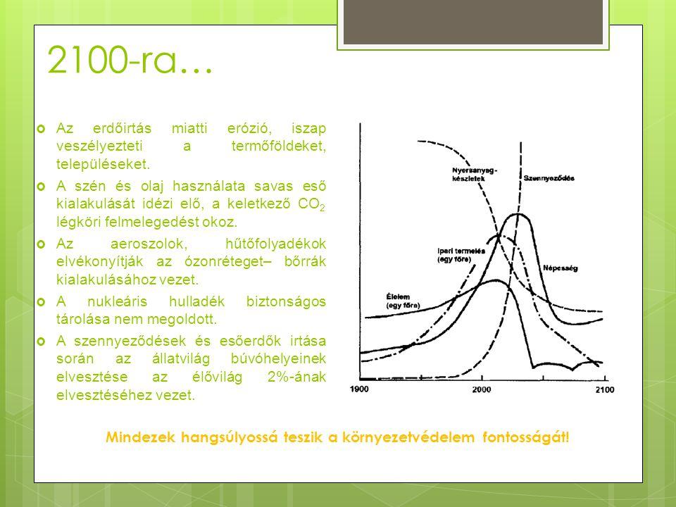2100-ra…  Az erdőirtás miatti erózió, iszap veszélyezteti a termőföldeket, településeket.  A szén és olaj használata savas eső kialakulását idézi el