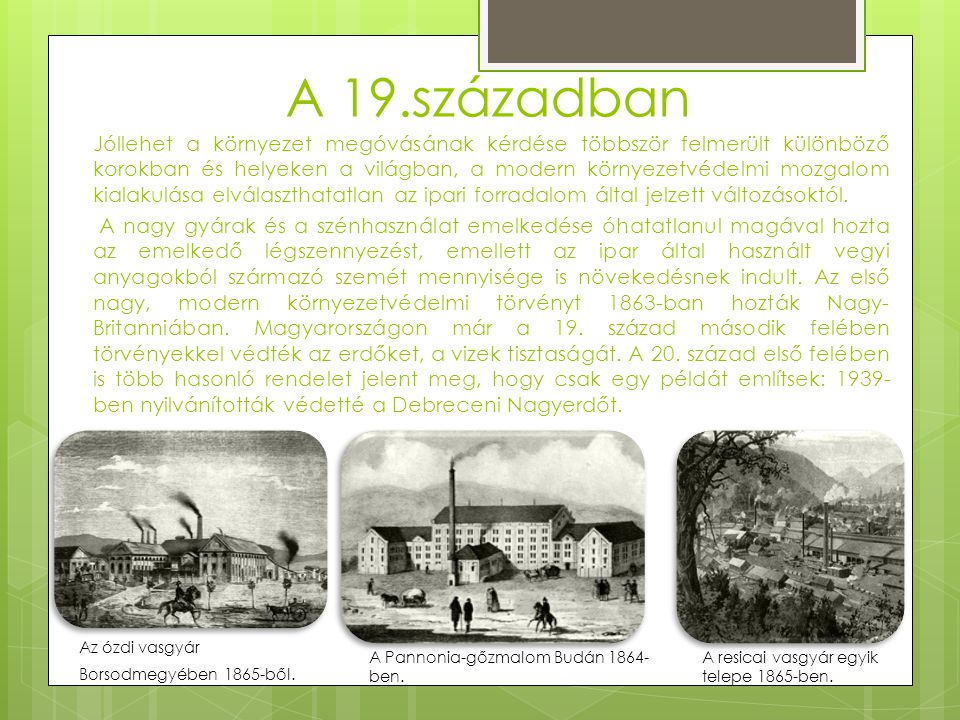 A 19.században Jóllehet a környezet megóvásának kérdése többször felmerült különböző korokban és helyeken a világban, a modern környezetvédelmi mozgalom kialakulása elválaszthatatlan az ipari forradalom által jelzett változásoktól.