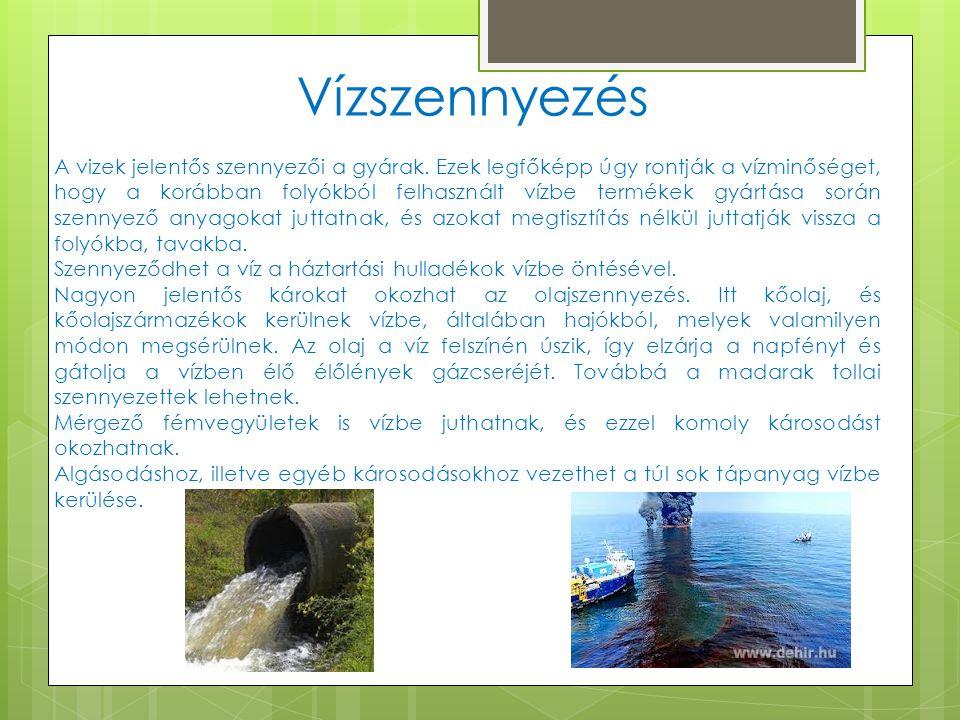 Vízszennyezés A vizek jelentős szennyezői a gyárak. Ezek legfőképp úgy rontják a vízminőséget, hogy a korábban folyókból felhasznált vízbe termékek gy