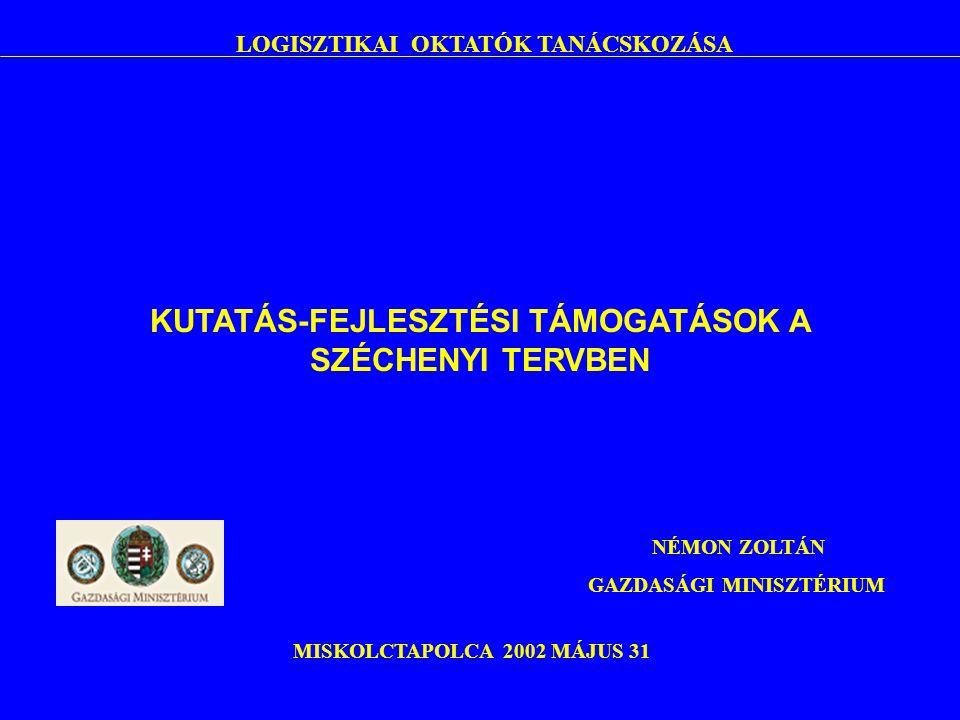 LOGISZTIKAI OKTATÓK TANÁCSKOZÁSA MISKOLCTAPOLCA 2002 MÁJUS 31 NÉMON ZOLTÁN GAZDASÁGI MINISZTÉRIUM KUTATÁS-FEJLESZTÉSI TÁMOGATÁSOK A SZÉCHENYI TERVBEN