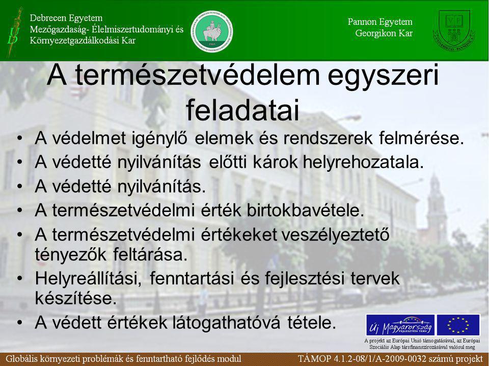 A természetvédelem egyszeri feladatai •A védelmet igénylő elemek és rendszerek felmérése. •A védetté nyilvánítás előtti károk helyrehozatala. •A védet