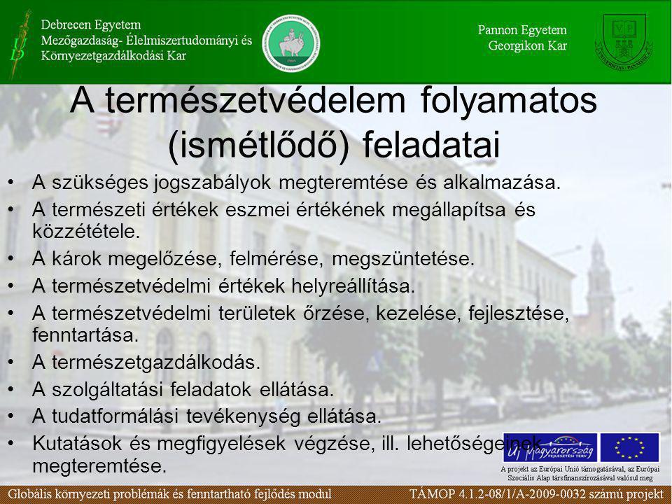 A természetvédelem folyamatos (ismétlődő) feladatai •A szükséges jogszabályok megteremtése és alkalmazása. •A természeti értékek eszmei értékének megá