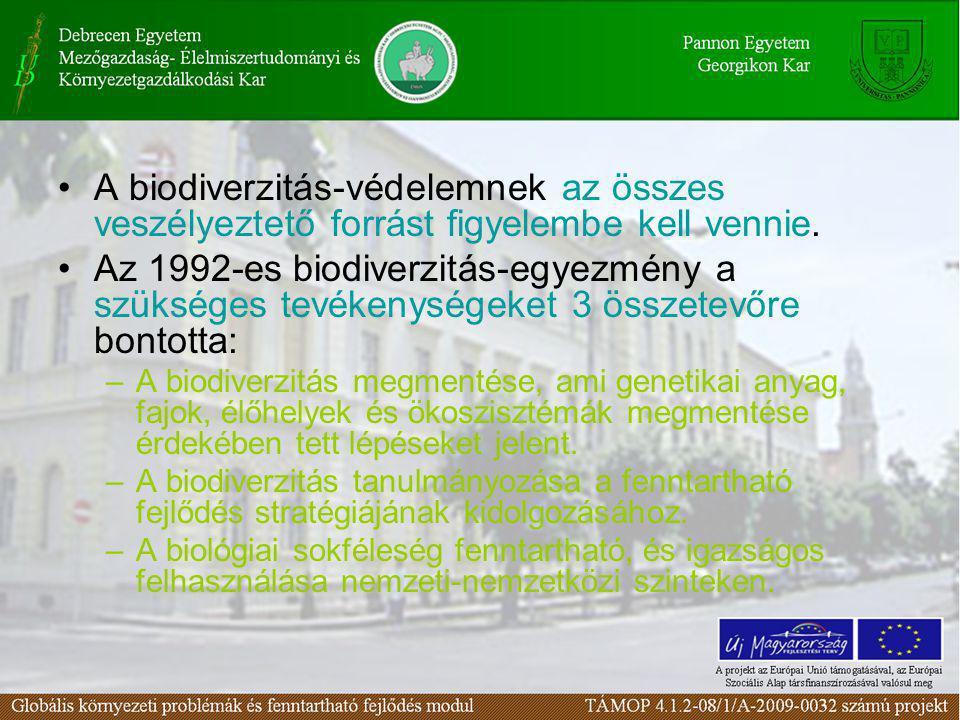 •A biodiverzitás-védelemnek az összes veszélyeztető forrást figyelembe kell vennie. •Az 1992-es biodiverzitás-egyezmény a szükséges tevékenységeket 3