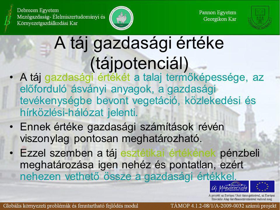 A táj gazdasági értéke (tájpotenciál) •A táj gazdasági értékét a talaj termőképessége, az előforduló ásványi anyagok, a gazdasági tevékenységbe bevont
