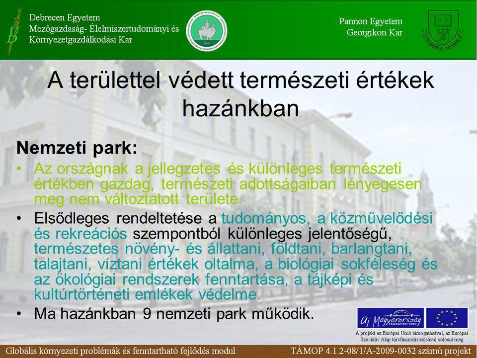 A területtel védett természeti értékek hazánkban Nemzeti park: •Az országnak a jellegzetes és különleges természeti értékben gazdag, természeti adotts
