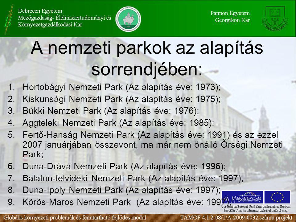 A nemzeti parkok az alapítás sorrendjében: 1.Hortobágyi Nemzeti Park (Az alapítás éve: 1973); 2.Kiskunsági Nemzeti Park (Az alapítás éve: 1975); 3.Bük