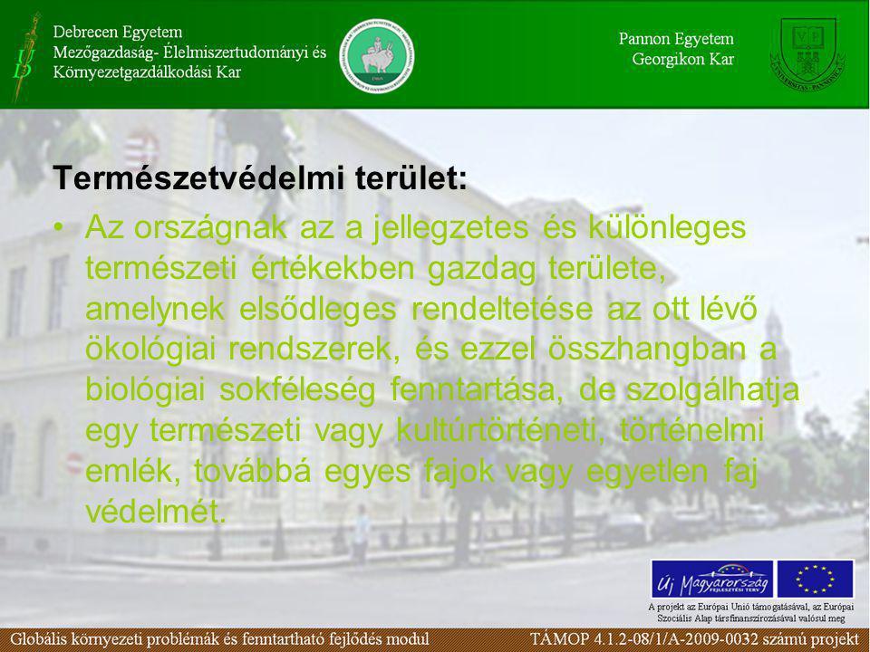 Természetvédelmi terület: •Az országnak az a jellegzetes és különleges természeti értékekben gazdag területe, amelynek elsődleges rendeltetése az ott