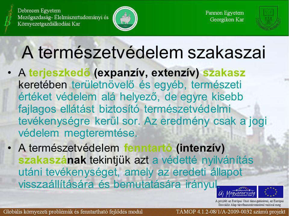 A természetvédelem szakaszai •A terjeszkedő (expanzív, extenzív) szakasz keretében területnövelő és egyéb, természeti értéket védelem alá helyező, de