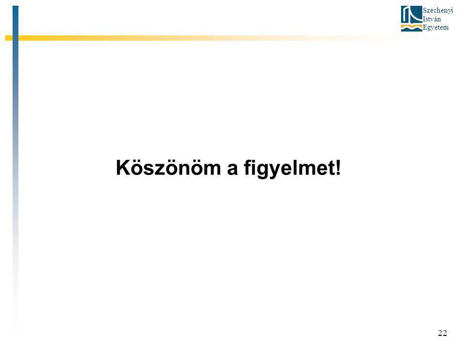 Széchenyi István Egyetem 22 Köszönöm a figyelmet!
