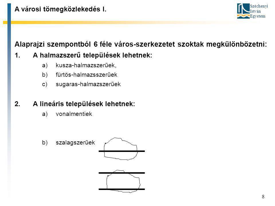 Széchenyi István Egyetem 8 Alaprajzi szempontból 6 féle város-szerkezetet szoktak megkülönbözetni: 1.A halmazszerű települések lehetnek: a)kusza-halma