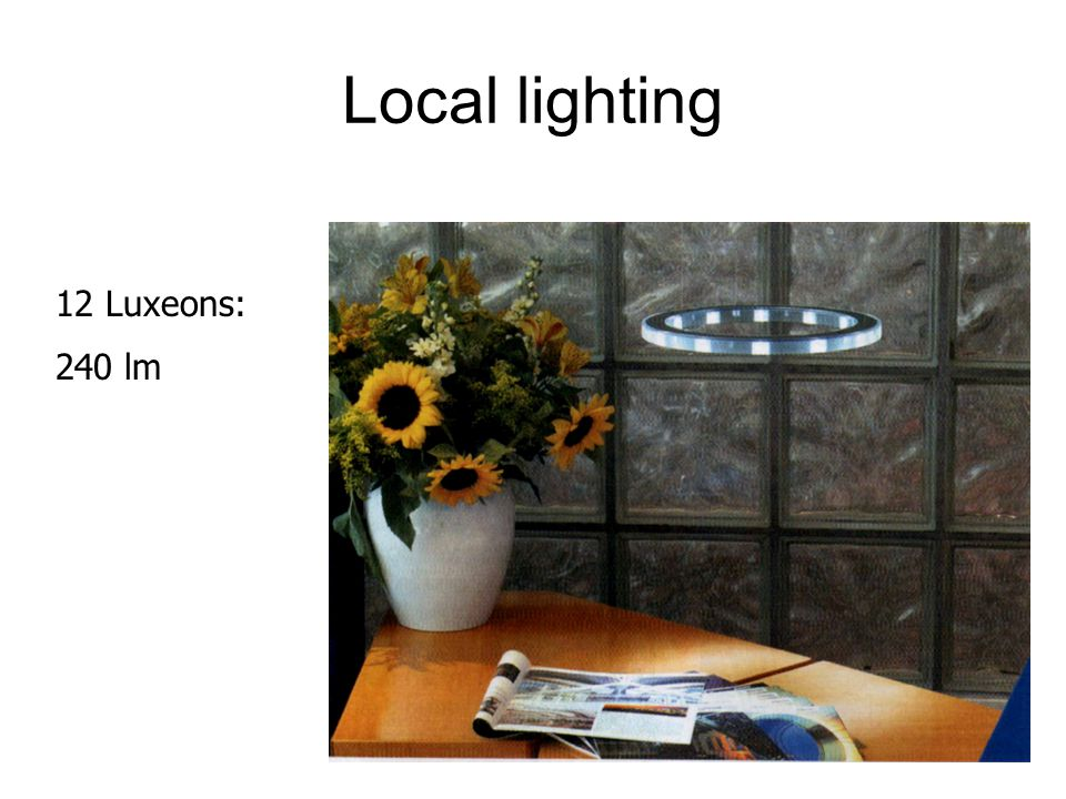 Local lighting 12 Luxeons: 240 lm