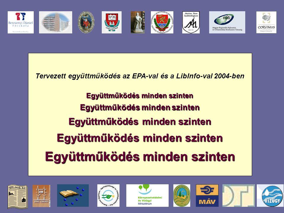 Tervezett együttműködés az EPA-val és a LibInfo-val 2004-ben Együttműködés minden szinten Együttműködés minden szinten Együttműködés minden szinten Együttműködés minden szinten Együttműködés minden szinten