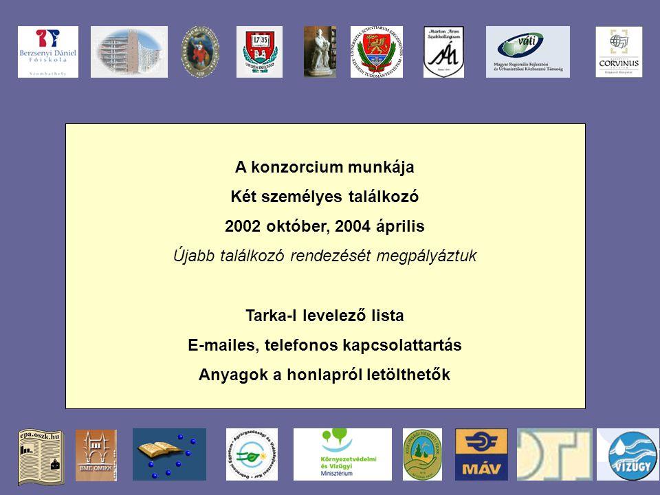 A konzorcium munkája Két személyes találkozó 2002 október, 2004 április Újabb találkozó rendezését megpályáztuk Tarka-l levelező lista E-mailes, telefonos kapcsolattartás Anyagok a honlapról letölthetők