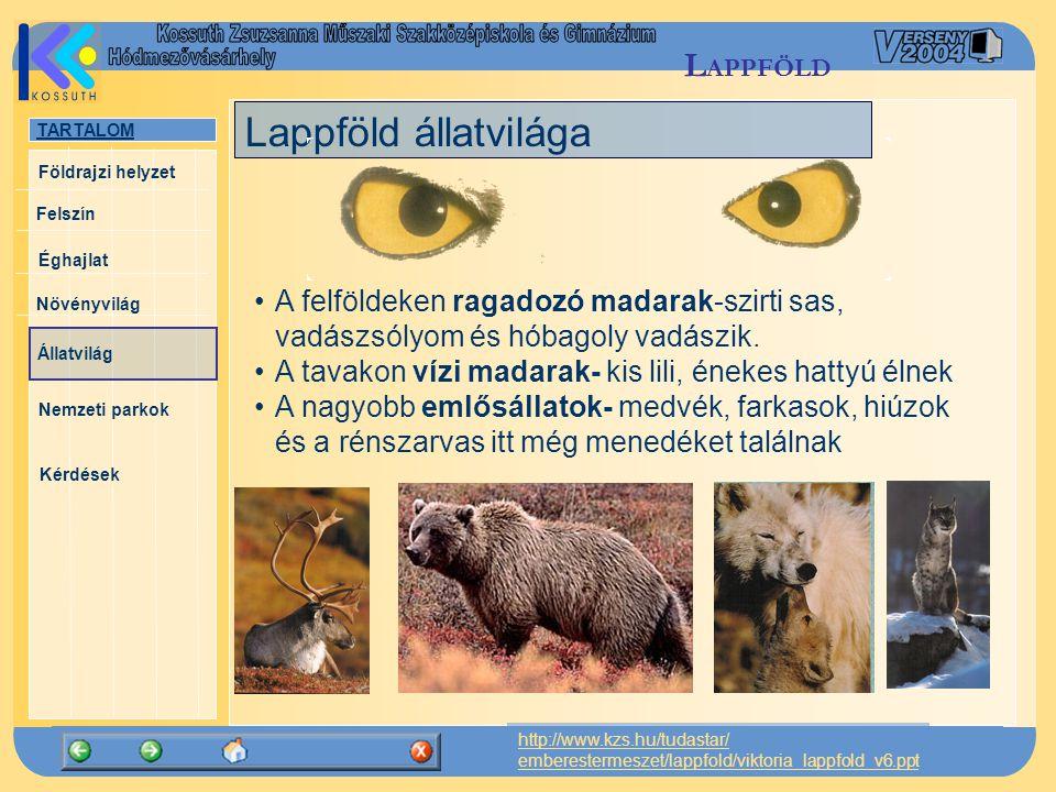 TARTALOM Felszín Éghajlat Növényvilág Állatvilág Nemzeti parkok Kérdések Földrajzi helyzet http://www.kzs.hu/tudastar/ emberestermeszet/lappfold/vikto