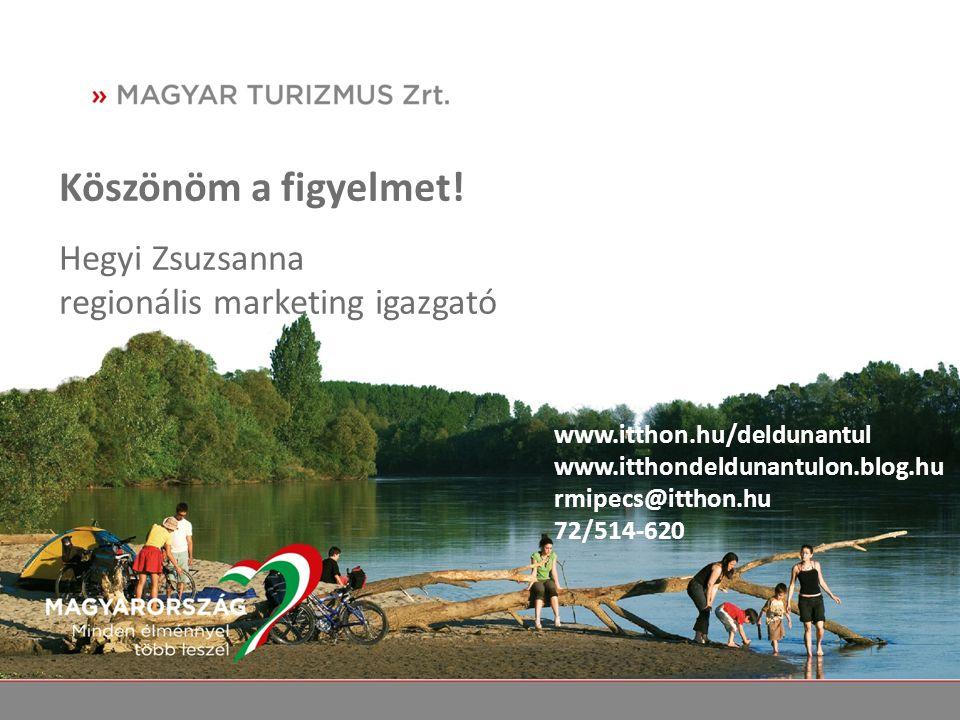 Köszönöm a figyelmet! Hegyi Zsuzsanna regionális marketing igazgató www.itthon.hu/deldunantul www.itthondeldunantulon.blog.hu rmipecs@itthon.hu 72/514