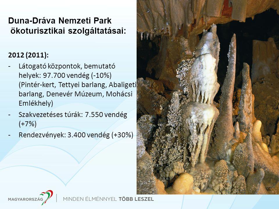 Duna-Dráva Nemzeti Park ökoturisztikai szolgáltatásai: 2012 (2011): -Látogató központok, bemutató helyek: 97.700 vendég (-10%) (Pintér-kert, Tettyei b