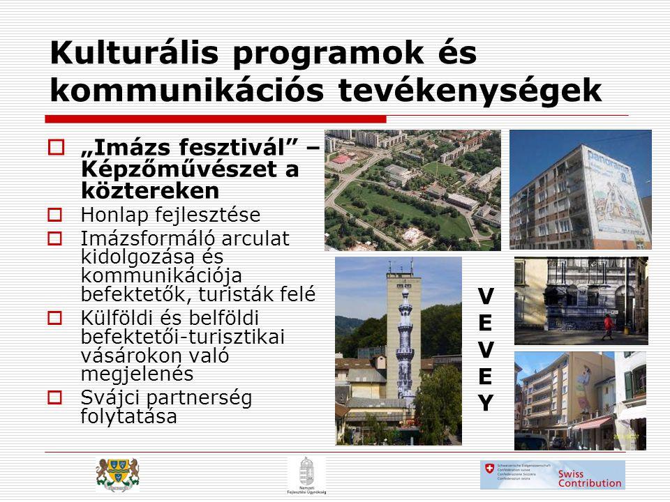 """Kulturális programok és kommunikációs tevékenységek  """"Imázs fesztivál – Képzőművészet a köztereken  Honlap fejlesztése  Imázsformáló arculat kidolgozása és kommunikációja befektetők, turisták felé  Külföldi és belföldi befektetői-turisztikai vásárokon való megjelenés  Svájci partnerség folytatása VEVEYVEVEY"""