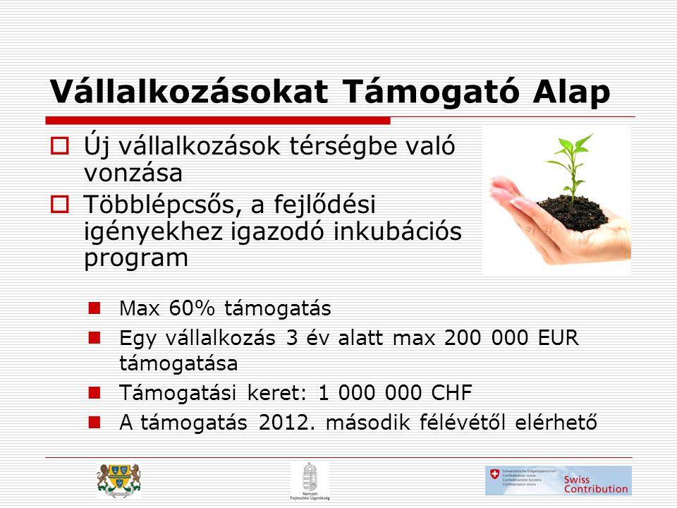 Vállalkozásokat Támogató Alap  Új vállalkozások térségbe való vonzása  Többlépcsős, a fejlődési igényekhez igazodó inkubációs program  M ax 60% támogatás  E gy vállalkozás 3 év alatt max 200 000 EUR támogatása  Támogatási keret: 1 000 000 CHF  A támogatás 2012.