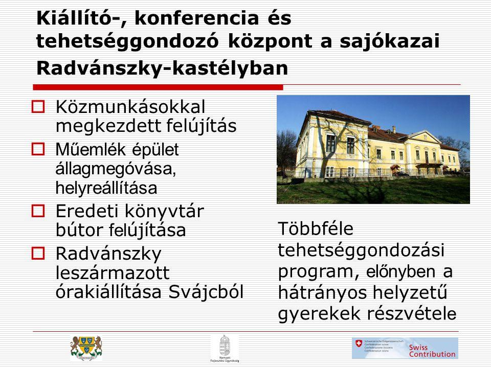 Kiállító-, konferencia és tehetséggondozó központ a sajókazai Radvánszky-kastélyban  Közmunkásokkal megkezdett felújítás  Műemlék épület állagmegóvása, helyreállítása  Eredeti könyvtár bútor fel újítása  Radvánszky leszármazott órakiállítása Svájcból T öbbféle tehetséggondozási program, előnyben a hátrányos helyzetű gyerekek részvétel e