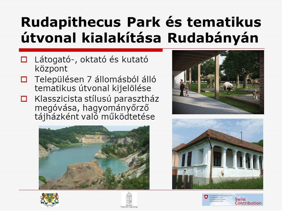 Rudapithecus Park és tematikus útvonal kialakítása Rudabányán  L átogató-, oktató és kutató központ  Településen 7 állomásból álló tematikus útvonal kijelölése  K lasszicista stílusú parasztház megóvása, hagyományőrző tájházként való működtetése