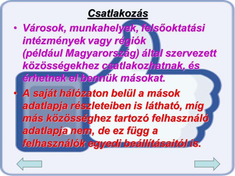 •V•V•V•Városok, munkahelyek, felsőoktatási intézmények vagy régiók (például Magyarország) által szervezett közösségekhez csatlakozhatnak, és érhetnek