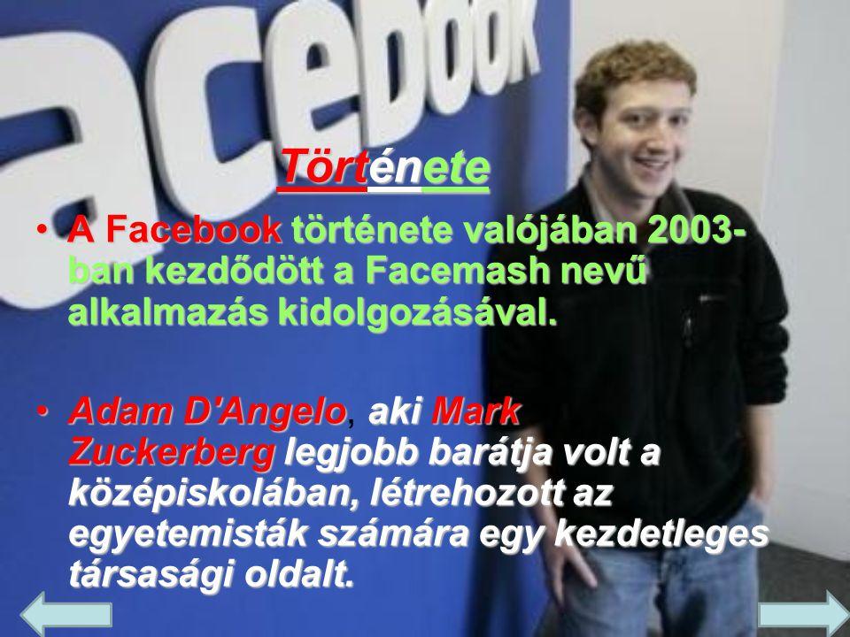 Története •A Facebook története valójában 2003- ban kezdődött a Facemash nevű alkalmazás kidolgozásával. •Adam D'AngeloakiMark Zuckerberglegjobb barát