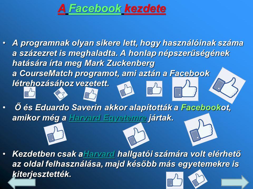 •A programnak olyan sikere lett, hogy használóinak száma a százezret is meghaladta. A honlap népszerűségének hatására írta meg Mark Zuckenberg a Cours