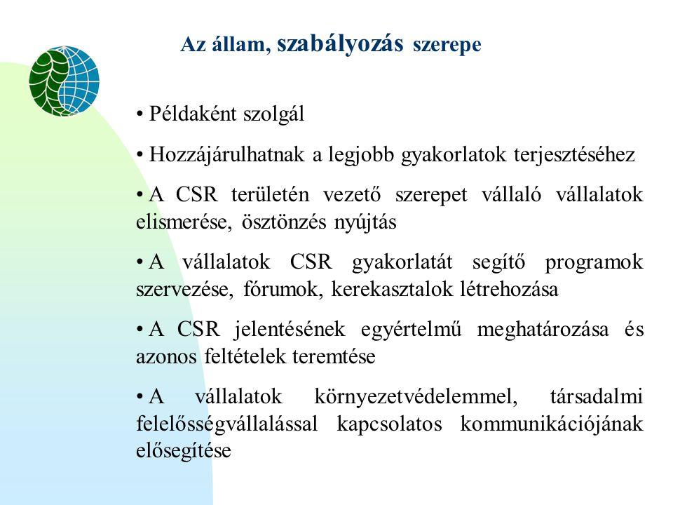 Az állam, szabályozás szerepe • Példaként szolgál • Hozzájárulhatnak a legjobb gyakorlatok terjesztéséhez • A CSR területén vezető szerepet vállaló vá