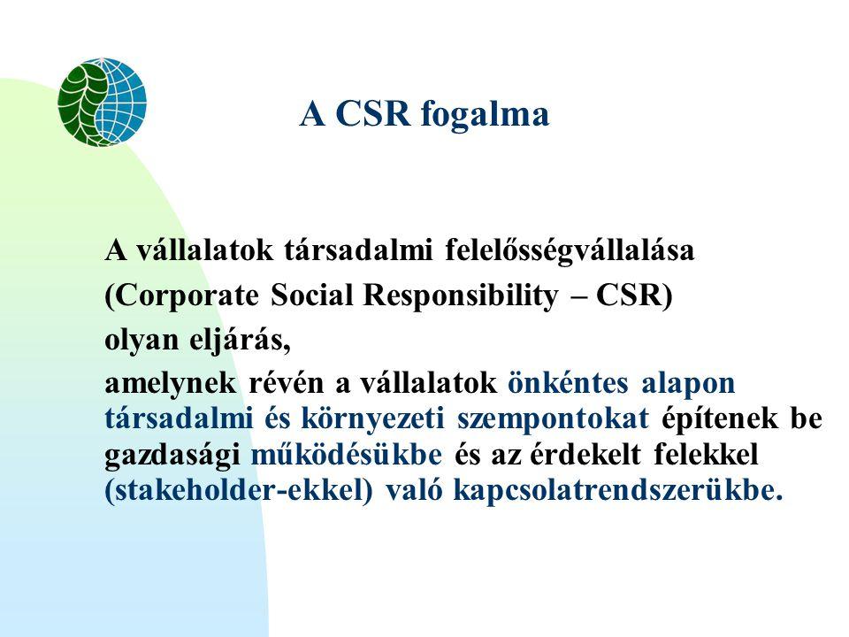 A CSR fogalma A vállalatok társadalmi felelősségvállalása (Corporate Social Responsibility – CSR) olyan eljárás, amelynek révén a vállalatok önkéntes