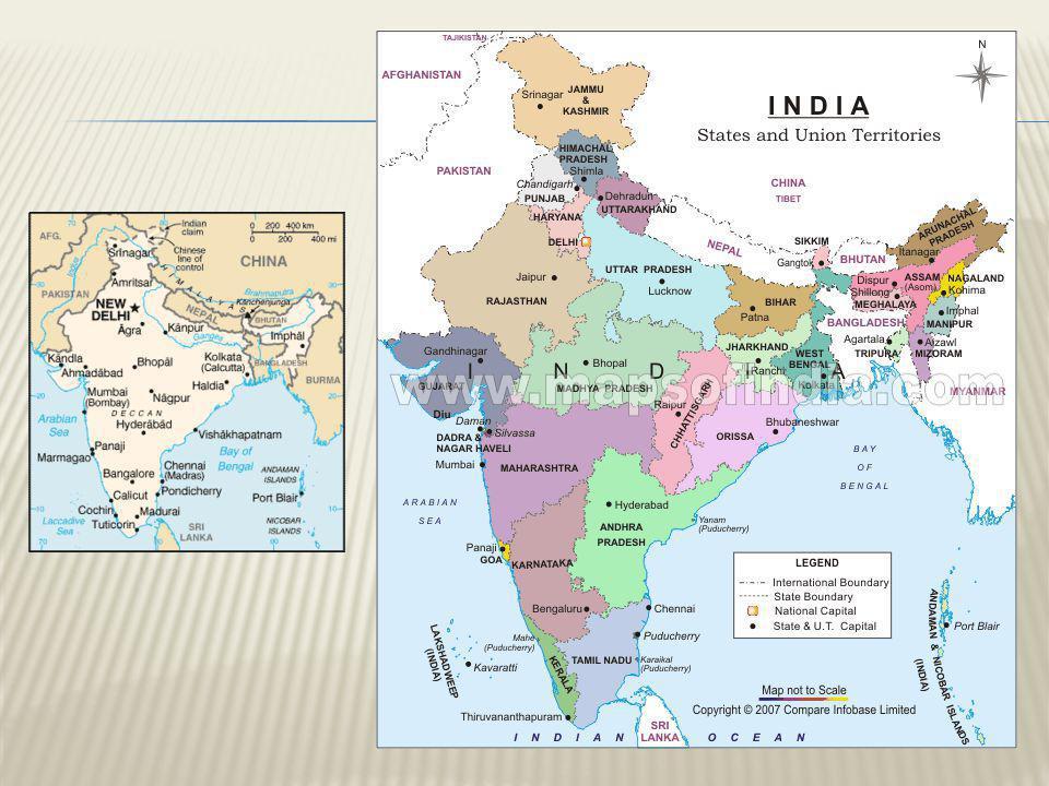  Terület (km 2 ):  Terület (km 2 ): 3 287 263 km²  Népesség :  Népesség :1 103 371 000 (2005-ös adat)  Főváros:  Főváros: Delhi  Államforma:  Államforma: szövetségi köztársaság  28 állam és 7 szövetségi terület  A Föld hetedik és második legnépesebb országa.