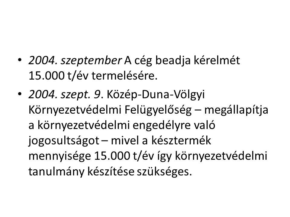 • 2004. szeptember A cég beadja kérelmét 15.000 t/év termelésére. • 2004. szept. 9. Közép-Duna-Völgyi Környezetvédelmi Felügyelőség – megállapítja a k