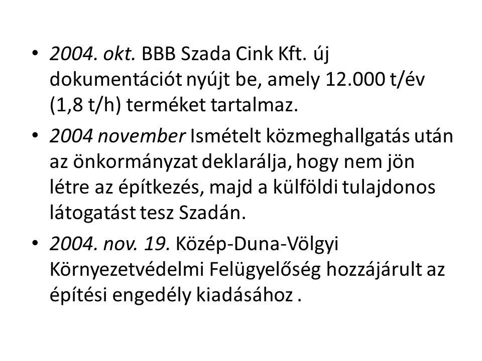 • 2004. okt. BBB Szada Cink Kft. új dokumentációt nyújt be, amely 12.000 t/év (1,8 t/h) terméket tartalmaz. • 2004 november Ismételt közmeghallgatás u