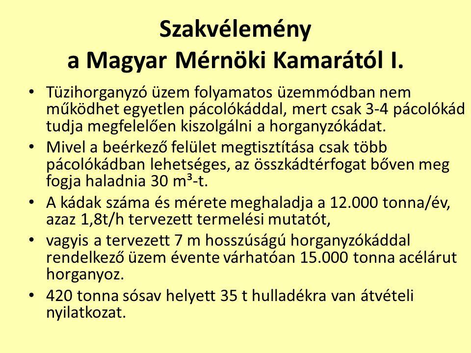 Szakvélemény a Magyar Mérnöki Kamarától I. • Tüzihorganyzó üzem folyamatos üzemmódban nem működhet egyetlen pácolókáddal, mert csak 3-4 pácolókád tudj