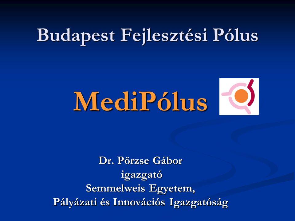 Budapest Fejlesztési Pólus MediPólus Dr. Pörzse Gábor igazgató igazgató Semmelweis Egyetem, Pályázati és Innovációs Igazgatóság