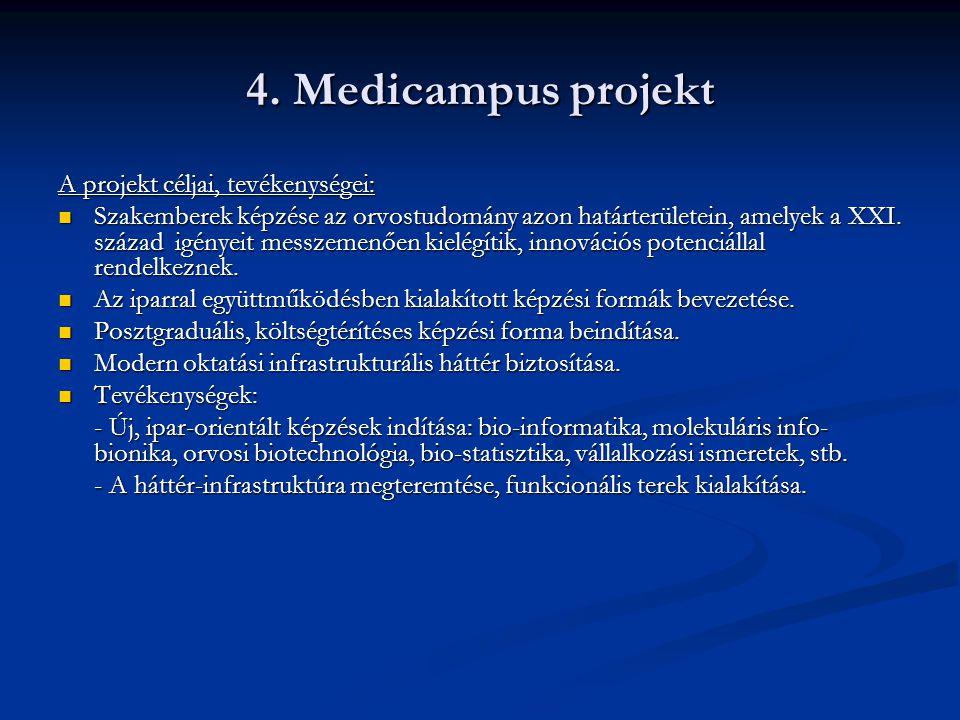 4. Medicampus projekt A projekt céljai, tevékenységei:  Szakemberek képzése az orvostudomány azon határterületein, amelyek a XXI. század igényeit mes