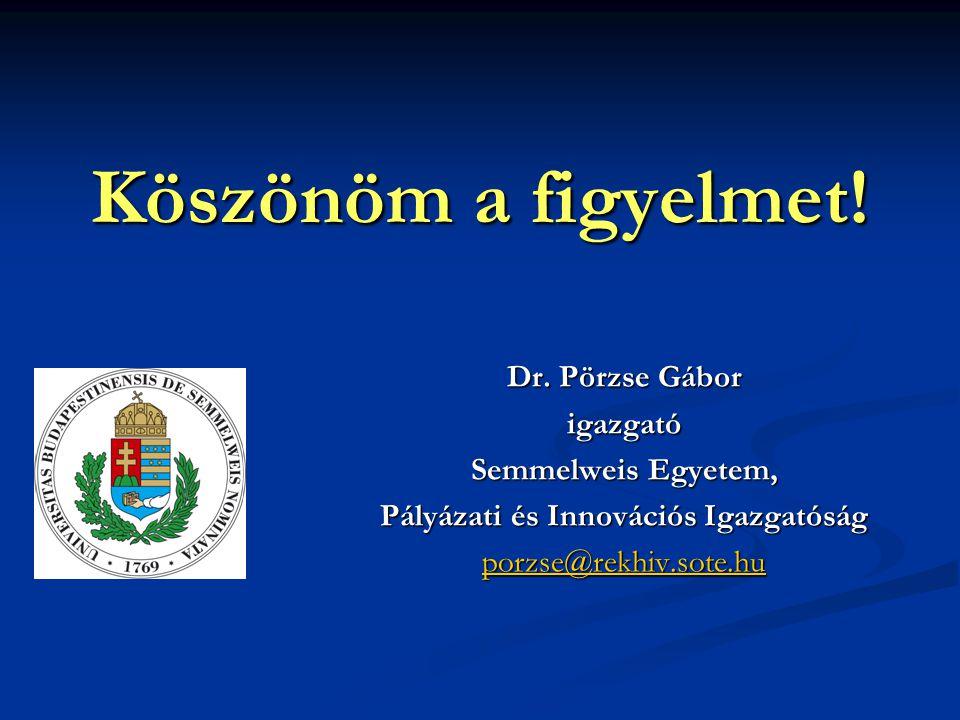 Köszönöm a figyelmet! Dr. Pörzse Gábor igazgató Semmelweis Egyetem, Pályázati és Innovációs Igazgatóság porzse@rekhiv.sote.hu