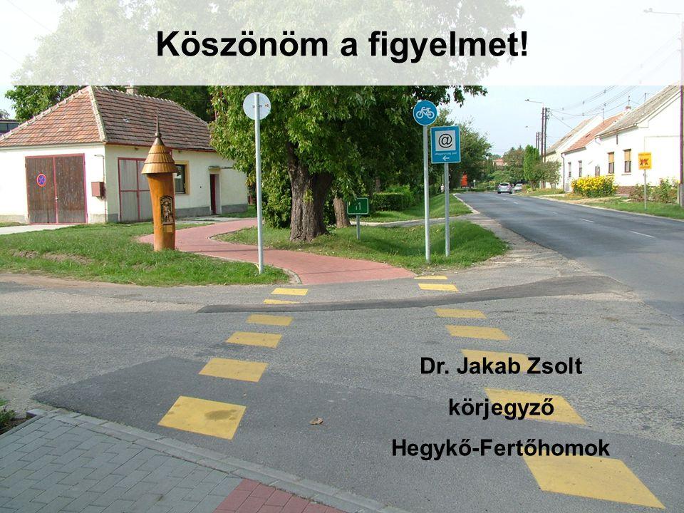 Köszönöm a figyelmet! Dr. Jakab Zsolt körjegyző Hegykő-Fertőhomok