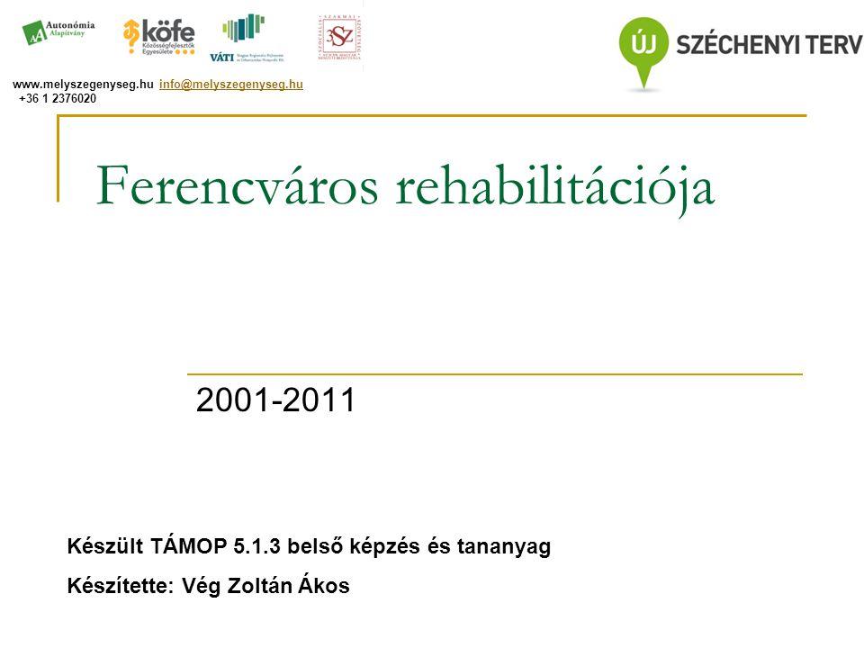 Ferencváros rehabilitációja 2001-2011 Készült TÁMOP 5.1.3 belső képzés és tananyag Készítette: Vég Zoltán Ákos www.melyszegenyseg.hu info@melyszegenys