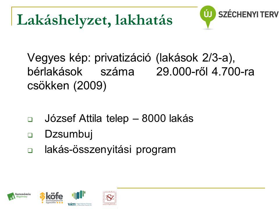 Lakáshelyzet, lakhatás Vegyes kép: privatizáció (lakások 2/3-a), bérlakások száma 29.000-ről 4.700-ra csökken (2009)  József Attila telep – 8000 laká