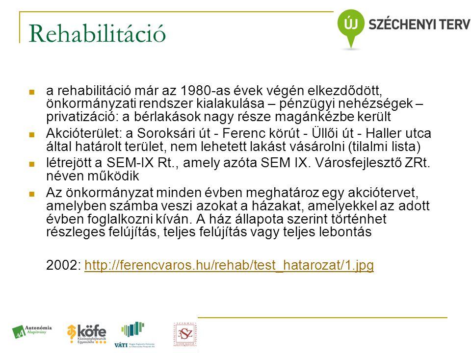 Rehabilitáció  a rehabilitáció már az 1980-as évek végén elkezdődött, önkormányzati rendszer kialakulása – pénzügyi nehézségek – privatizáció: a bérl
