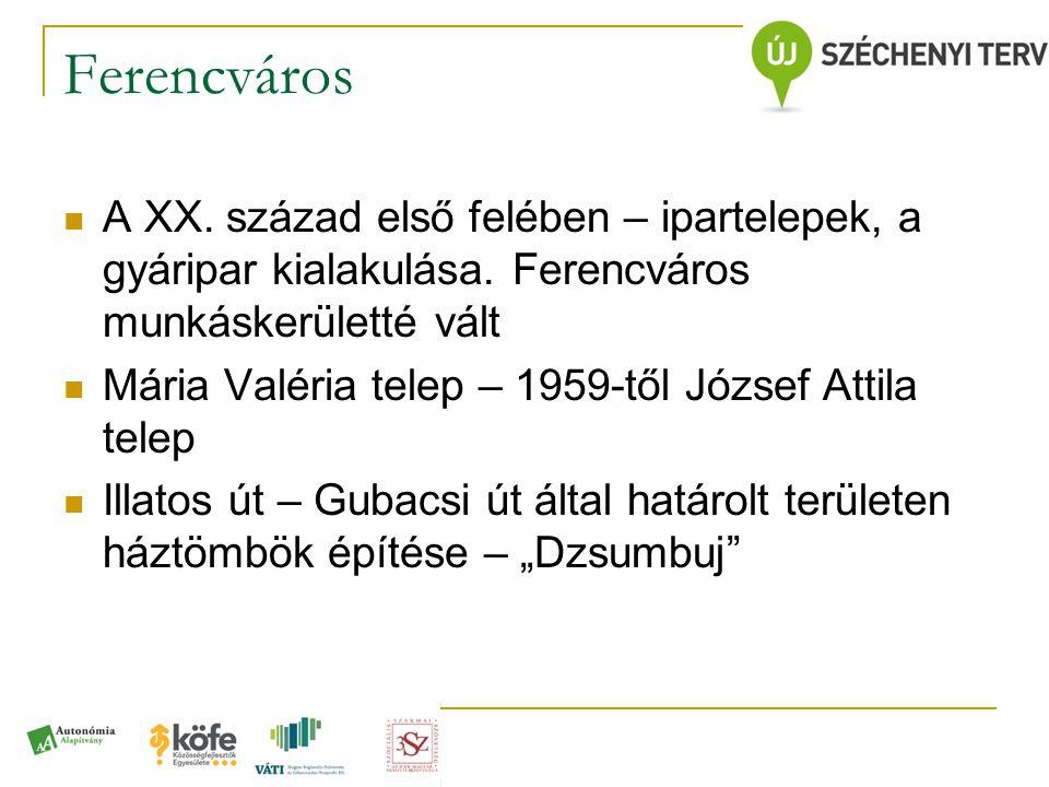 Ferencváros  A XX. század első felében – ipartelepek, a gyáripar kialakulása. Ferencváros munkáskerületté vált  Mária Valéria telep – 1959-től Józse