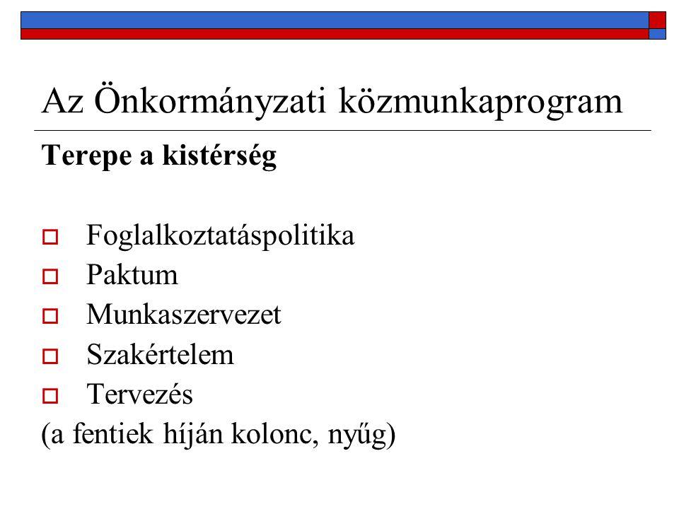 Az Önkormányzati közmunkaprogram Terepe a kistérség  Foglalkoztatáspolitika  Paktum  Munkaszervezet  Szakértelem  Tervezés (a fentiek híján kolonc, nyűg)